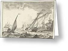 Ships At Sea, Ludolf Bakhuysen Greeting Card