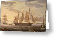 Ships In Harbor Signed And Dated Lower Right R Greeting Card