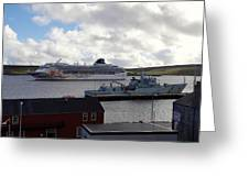 Ships In Lerwick Harbour Greeting Card