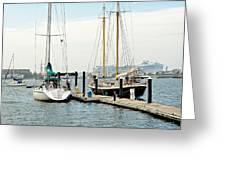 Ships In Newport Harbor Greeting Card