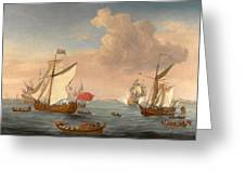 Ships In The Thames Estuary Near Sheerness Greeting Card