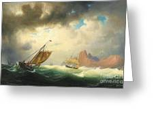 Ships On Stormy Ocean Greeting Card