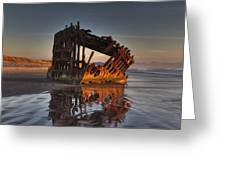Shipwreck At Sunset Greeting Card