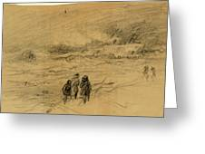 Shipwreck In A Storm With Figures Looking On, 1860-1865 Greeting Card