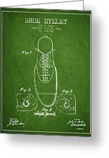 Shoe Eyelet Patent From 1905 - Green Greeting Card