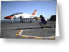 Shooter Signals To The Pilot Of A T-45c Greeting Card