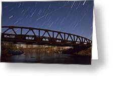 Shooting Star Over Bridge Greeting Card