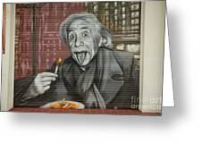 Shop Window Metal Blind Einstein Greeting Card