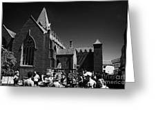 shoppers in market outside St Nicholas collegiate church Galway city county Galway Republic of Irela Greeting Card