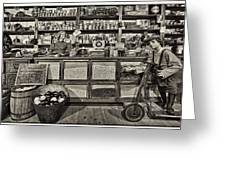 Shopping At The General Store Greeting Card by Priscilla Burgers