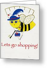Shopping Bee Gilda Greeting Card by Christy Woodland