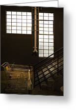 Shopping Cart Stairs At Window Greeting Card