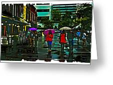 Shopping In The Rain - Knoxville Greeting Card