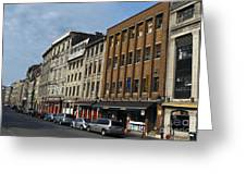 Shops And Buildings Along Rue Saint-paul Old Montreal Greeting Card