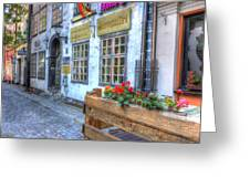 Shops And Flower Boxes Greeting Card