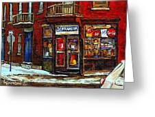 Shops And Streets Of St Henri- Montreal Paintings Depanneur Coca Cola Winter City Scenes Greeting Card