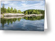 Shoreline Reflection Of Northern Lake Greeting Card