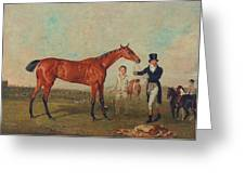 Shoveller Held By Her Trainer Will Chifney Greeting Card by Benjamin Marshall