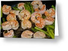 Shrimp And Asparagus Greeting Card
