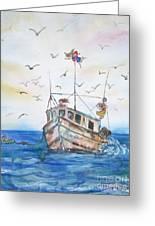 Shrimp Boat Sailing Greeting Card