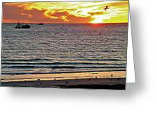 Shrimp Boats And Gulls Over Sea Of Cortez At Sunset From Playa Bonita Beach-mexico Greeting Card