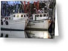 Shrimp Boats Reflecting Greeting Card