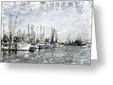 Shrimp Boats Sketch Photo Greeting Card