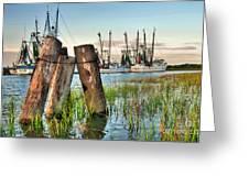 Shrimp Dock Pilings Greeting Card