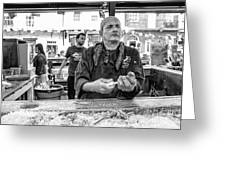Shucking Oysters In Black And White Greeting Card