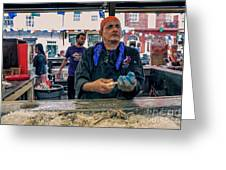 Shucking Oysters In The French Quarter Greeting Card