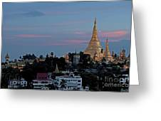 Shwedagon Pagoda In Yangon Myanmar Greeting Card