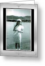 Shy Girl With New Easter Dress Greeting Card