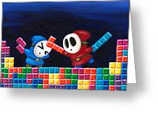 Shy Guys Playing Tetris Greeting Card by Katie Clark