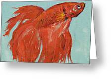 Siamese Fighting Fish Greeting Card by Michael Creese