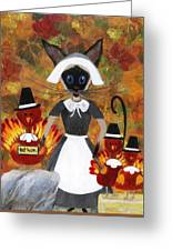 Siamese Queen Of Thanksgiving Greeting Card