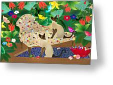 Siameses En Chaise Con Flores Limited Edition 2 Of 15 Greeting Card
