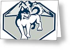 Siberian Husky Dog Mountain Retro Greeting Card