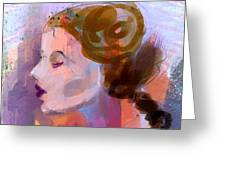 Side View Female In Pastel Shades Greeting Card
