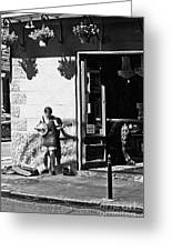 Sidewalk Banjo Plucker In French Quarter Greeting Card