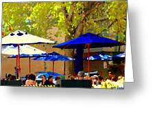 Sidewalk Cafe Blue Bistro Umbrellas Downtown Oasis Terrace Montreal City Scene Carole Spandau Greeting Card