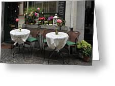 Sidewalk Cafe In Antwerp Greeting Card