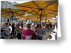 Sidewalk Cafe In Lisbon Greeting Card