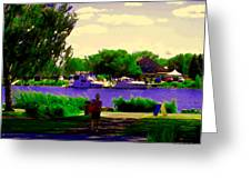 Sights Along The Harbor Late Day Stroll Lachine Canal Bike Path Montreal Scenes Carole Spandau Greeting Card