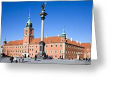 Sigismund's Column And Royal Castle In Warsaw Greeting Card
