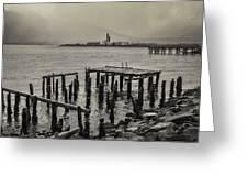 Siglufjordur Old Pier Black And White Greeting Card