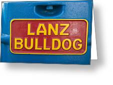 Sign Lanz Bulldog On A Tractor Greeting Card