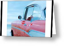 Signed Chevy Belair At The Beach Mini Greeting Card