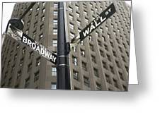 Signs For Broadway And Wall Street Greeting Card