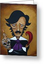 Silence A Poe Caricature Greeting Card