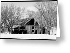 Silent Barn In The Winter Greeting Card